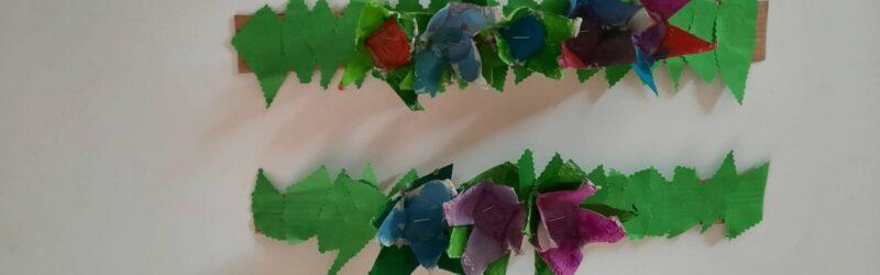 geplakte bloemen liggend